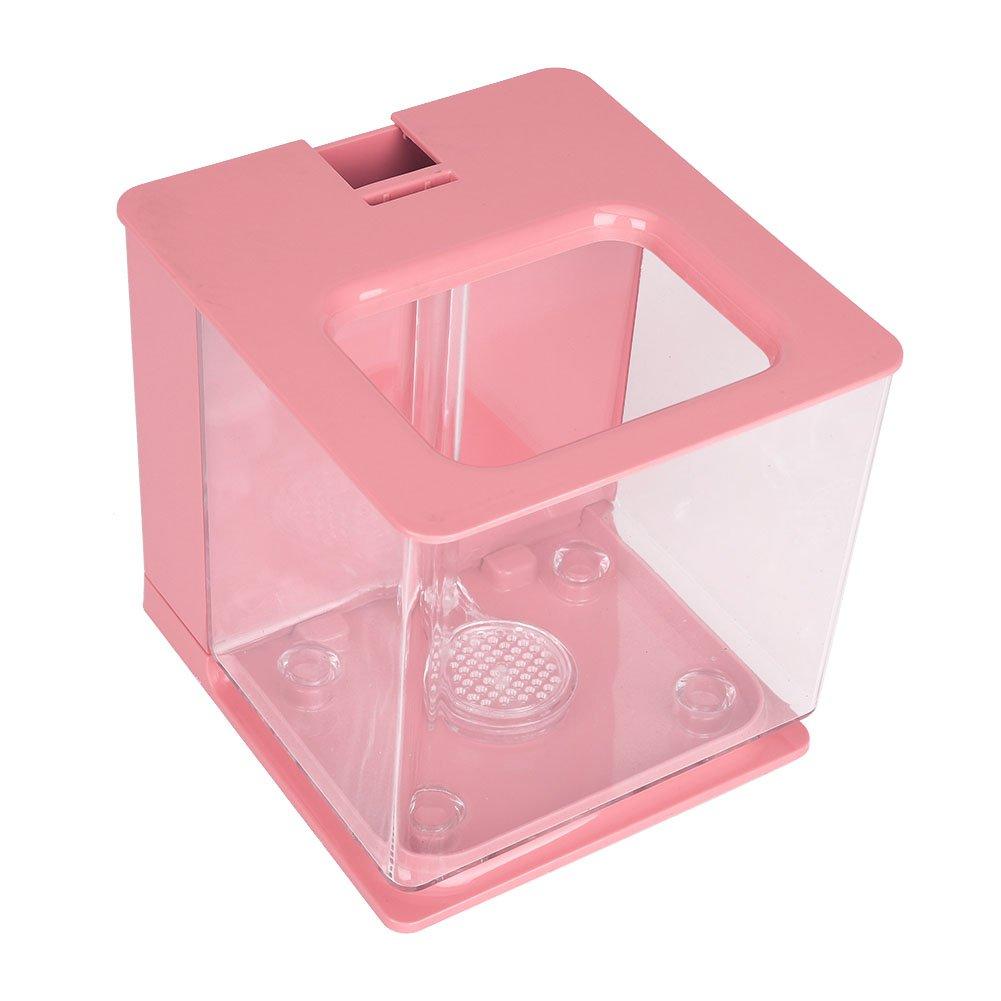 Fdit Mini acquario di plastica creativo dell'acquario ambientale con i rifornimenti della decorazione del sistema automatico del filtro (Black)