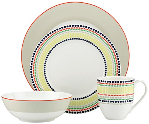 (kate spade new york Hopscotch 4-piece Place Setting, Taupe)