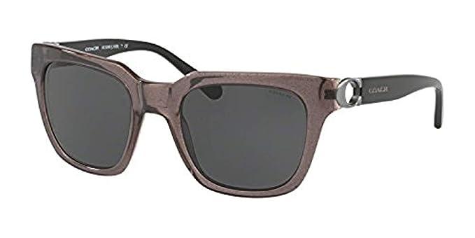 3ae1f12fc8e5 Coach Women s HC8240F Sunglasses Black Dark Grey Solid 52mm at ...