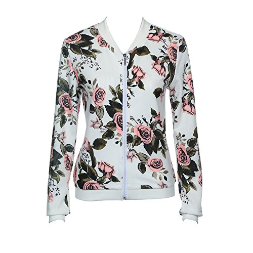 Bomber Imprimer Veste Zipper Fleur Up Chic Automne Floral Femme qIwz05