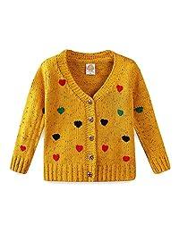 SERAIALDA Boys' Autumn Button Down V-Neck Long Sleeve Heart Print Knit Cardigan Sweater Outerwear