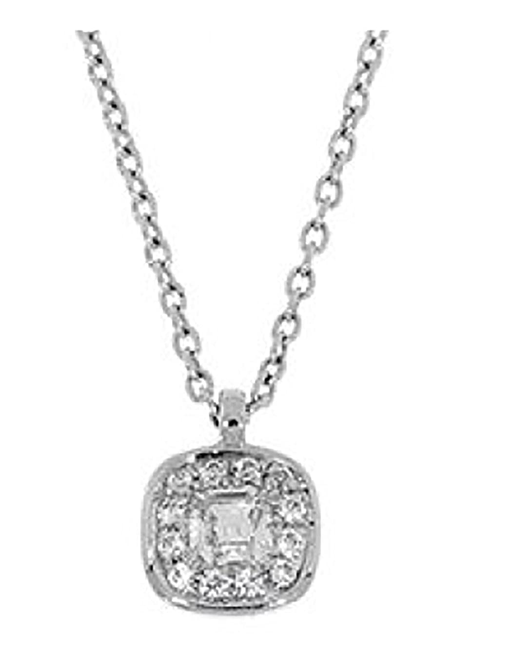 Solid Sterling Silver CZ Accented Halo Necklace-Adjustable Chain 16 Inch-18 Inch PSWO