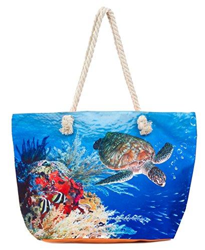 (Leisureland Large Beach Tote Bag, Top Zipper Boat Bag (Sea/Turtle))