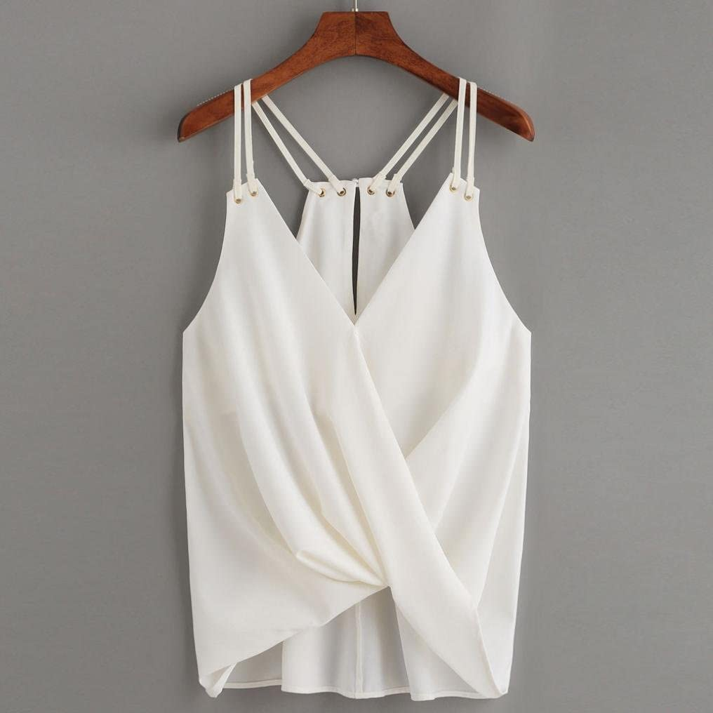 SUSENSTONE Solid Casual V-Neck Sleeveless Crop Vest Tank Shirt Blouse Cami Top