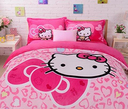 FADFAY Home Textile Hello Kitty Bedding Set Flannel Bedding Set Hello Kitty  Bedroom Set Twin Full