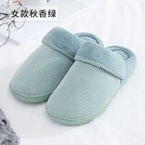 Fankou Autunno e Inverno colore solido cotone pantofole indoor anti-slittamento caldo di spessore pattini accoppiano ,39-40, blu cielo