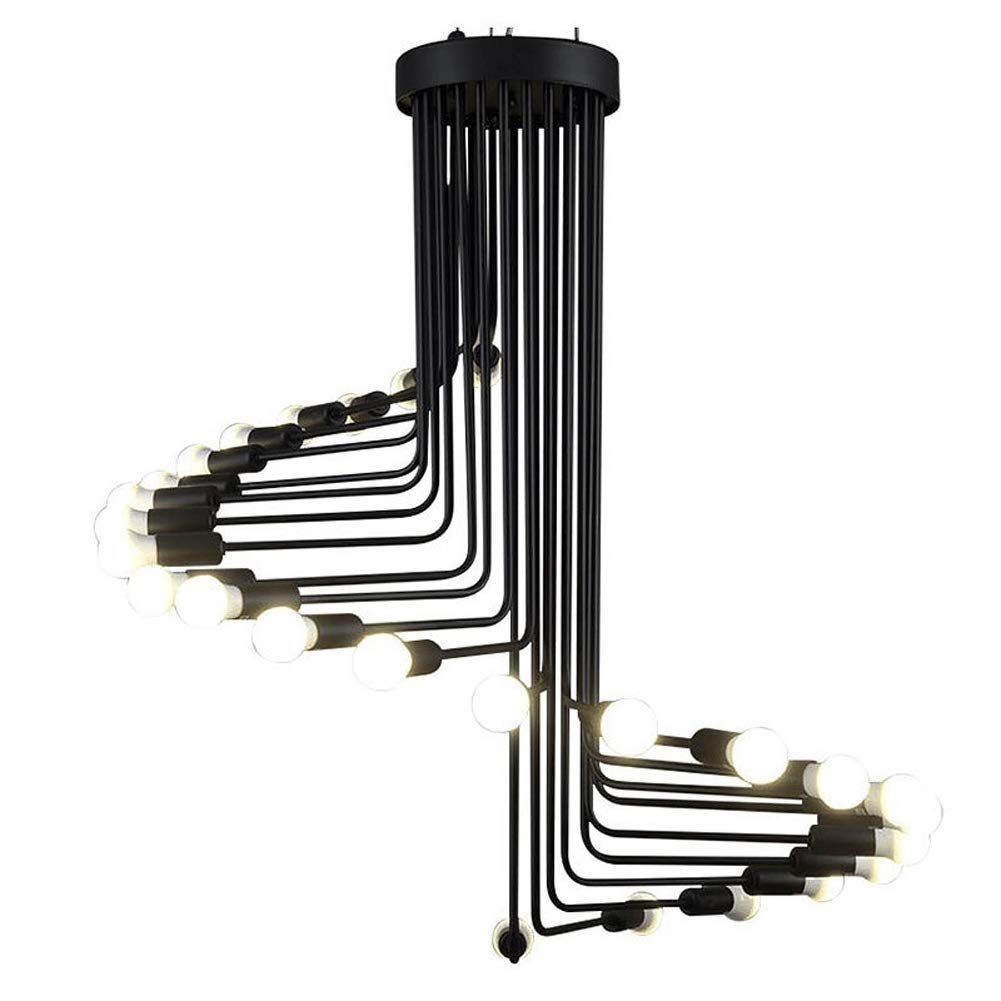 XMddzy 26ライトダブル行メタルシャンデリアレトロ素朴な工業用ペンダントライトヴィンテージ装飾吊り照明器具シーリングライト照明器具   B07TND5WCC