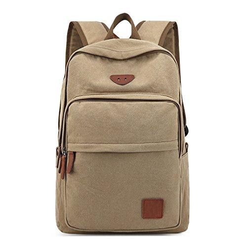 Unique Stylish High-capacity Zipper Canvas Casual Laptop Bag Shoulder Bag Travel Bag (Khaki) - 2