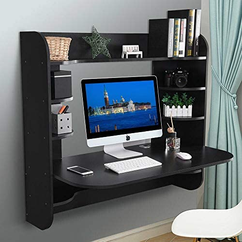 Binrrio Wall-Mounted Computer Desk, Storage Tray Floating Desk, Wood Compact Home Office Desk, Laptop PC Table Writing Study Table, Workstation with Storage Drawer Shelves Black