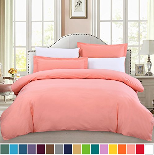 Peach Comforter Sets (SUSYBAO 3 Pieces Duvet Cover Set 100% Cotton King Size 1 Duvet Cover 2 Pillow Shams Pink/Peach Luxury Quality Ultra Soft Breathable Hypoallergenic Fade Stain Wrinkle Resistant with Zipper Ties)