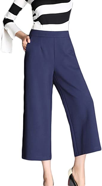 Pantalones Cropped Anchos Para Mujer Casual Talle Alto Slim Pants Trousers Pantalon Amazon Es Ropa Y Accesorios