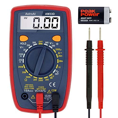 AstroAI Digital Multimeter with Ohm Volt Amp and Diode Voltage Tester Meter (Intelligent Anti-burn) ()
