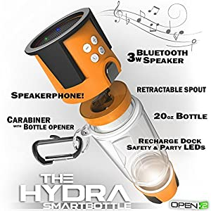 HYDRA Tech Bottle - 5W Bluetooth Speaker, 4000 mah Power Bank Charger for Smart Phone, Speakerphone, Microphone, Emergency RGB LED Nightlight Orange