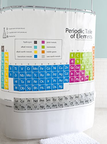 Splash Home EVA Periodic Table Shower Curtain Liner Design for Bathroom Showers and Bathtubs - Free of PVC Chlorine and Chemical Smell - Eco-Friendly - 100% Waterproof, 72 X 70 - Periodic Table Shower