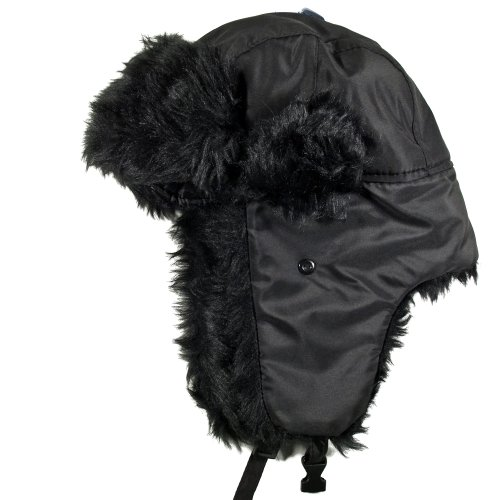 Aspen 802 - schwarz - Russenmütze Fliegermütze Kunstfell Mütze Tschapka Uschanka Polar