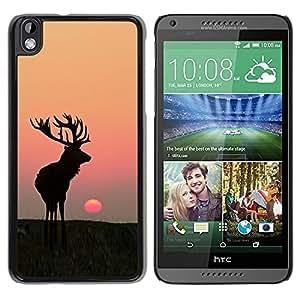Design for Girls Plastic Cover Case FOR HTC DESIRE 816 Moon Sunset Summer Antlers Hunting Deer OBBA