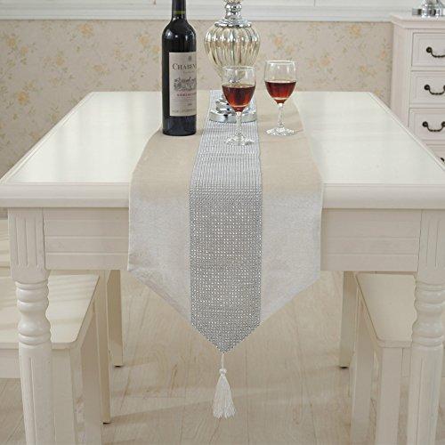 Jian ya na camino de mesa hecha a mano elegante estilo natural mantel con tira de diamantes y flecos para bodas y fiestas, beige, 32 * 210 cm