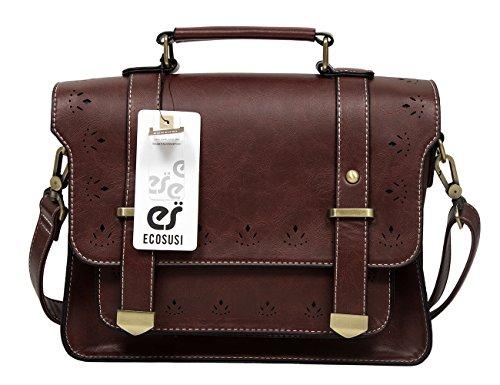 Brown Womens Messenger Bag (EOSUSI Women's Faux Leather Briefcases Messenger Bag Ladies Handbags,)