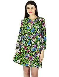 Women Beach Dress Batik Print Short Sleeve Casual Summer Sundress