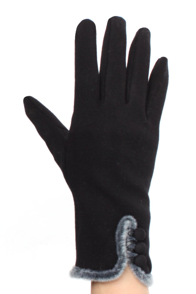 LL Womens Touchscreen Black Faux Fur Trimmed Button Gloves Lined Medium Large