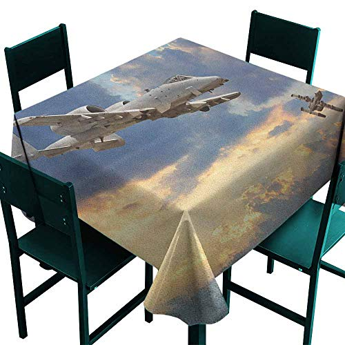 Warm Family Airplane Oil-Proof and Leak-Proof Tablecloth Peacekeepers Mission Jet Up International Military Force Combat Flight Picture Indoor Outdoor Camping Picnic W36 x L36 Blue Silver