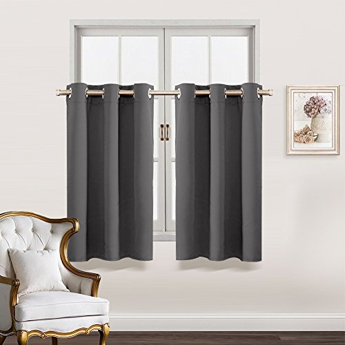 Blackout Curtain Tiers for Kitchen - RYB HOME Decoration RingTopWindow Treatment Valance Panels for Small Window / Bedroom / Living Room Include 8 Grommets Each Panel, W 52