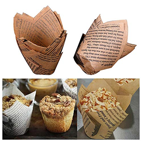Tulip Cupcake Liners Baking Cups Muffin Liner Grease-Proof Paper Cupcake Wrappers for Wedding, Birthday Party (100 pcs, White, Natural Color)