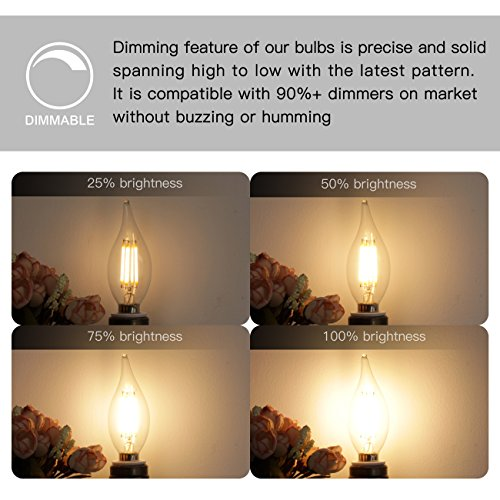 E12 LED Candelabra Bulb 60W Equivalent Dimmable LED Chandelier Light Bulbs 6W 2700K Warm White 550LM CA11 Flame Tip Vintage LED Filament Candle Bulb with Decorative Candelabra Base, 6 Packs, by Boncoo by Boncoo (Image #3)