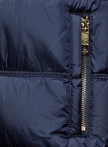 Femme 7900n Blouson Fausse Col Fourrure Ultra Bleu Long oodji 58Fxp6q