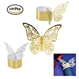 Pi-Pi 100pcs 3D Butterfly Paper Napkin Rings Weddings Party Serviette Table Decoration Restaurant (Gold)