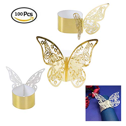 Pi-Pi 100pcs 3D Butterfly Paper Napkin Rings Weddings Party Serviette Table Decoration Restaurant (Gold) by Pi-Pi