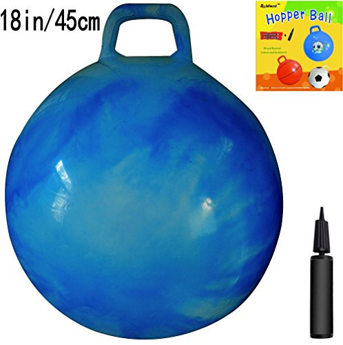 AppleRound Space Hopper Ball with Air Pump: 18in/45cm Diameter for Ages 3-6, Hop Ball, Kangaroo Bouncer, Hoppity Hop, Jumping Ball, Sit & Bounce (Blue Cloud) -