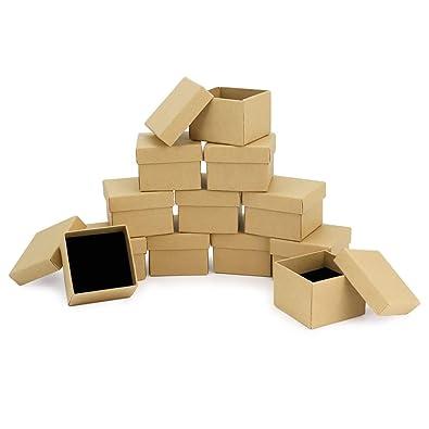RUBY- 24 Cajas Kraft Joyería 5cm x 5cm, para presentación de Joyas, Caja