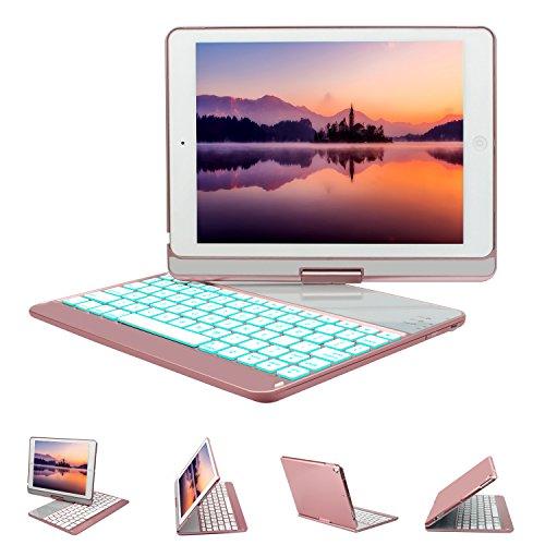 New iPad 9.7 Keyboard Case, GreenLaw 7 Color Backlit Keyboard Case Cover 360° Rotate Smart Keyboard Case with Auto Wake/Sleep for iPad pro 9.7, 2017 New iPad 9.7, iPad Air, iPad Air 2 (rose gold)