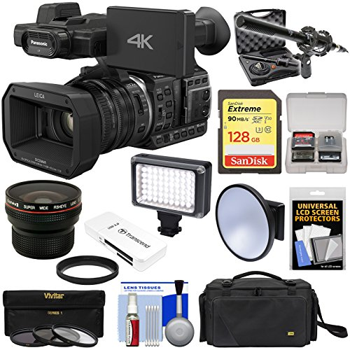 Panasonic HC-X1000 4K Ultra HD Wi-Fi Video Camera Camcorder with Fisheye Lens + 128GB Card + Case + LED Light + Microphone + Filters Kit by Panasonic