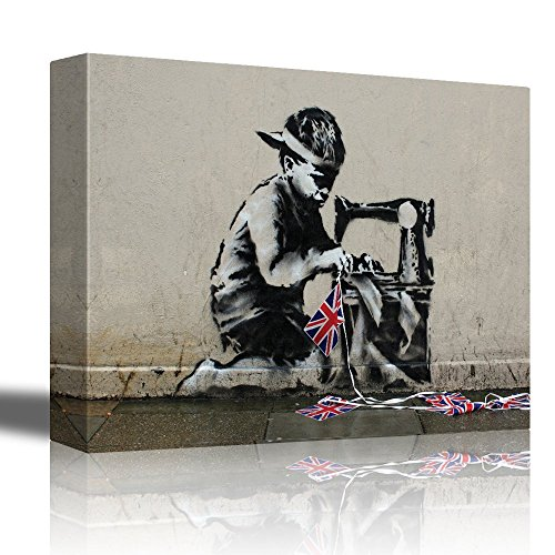 Slave Labour by Banksy Child Sewing Countries Flags Together