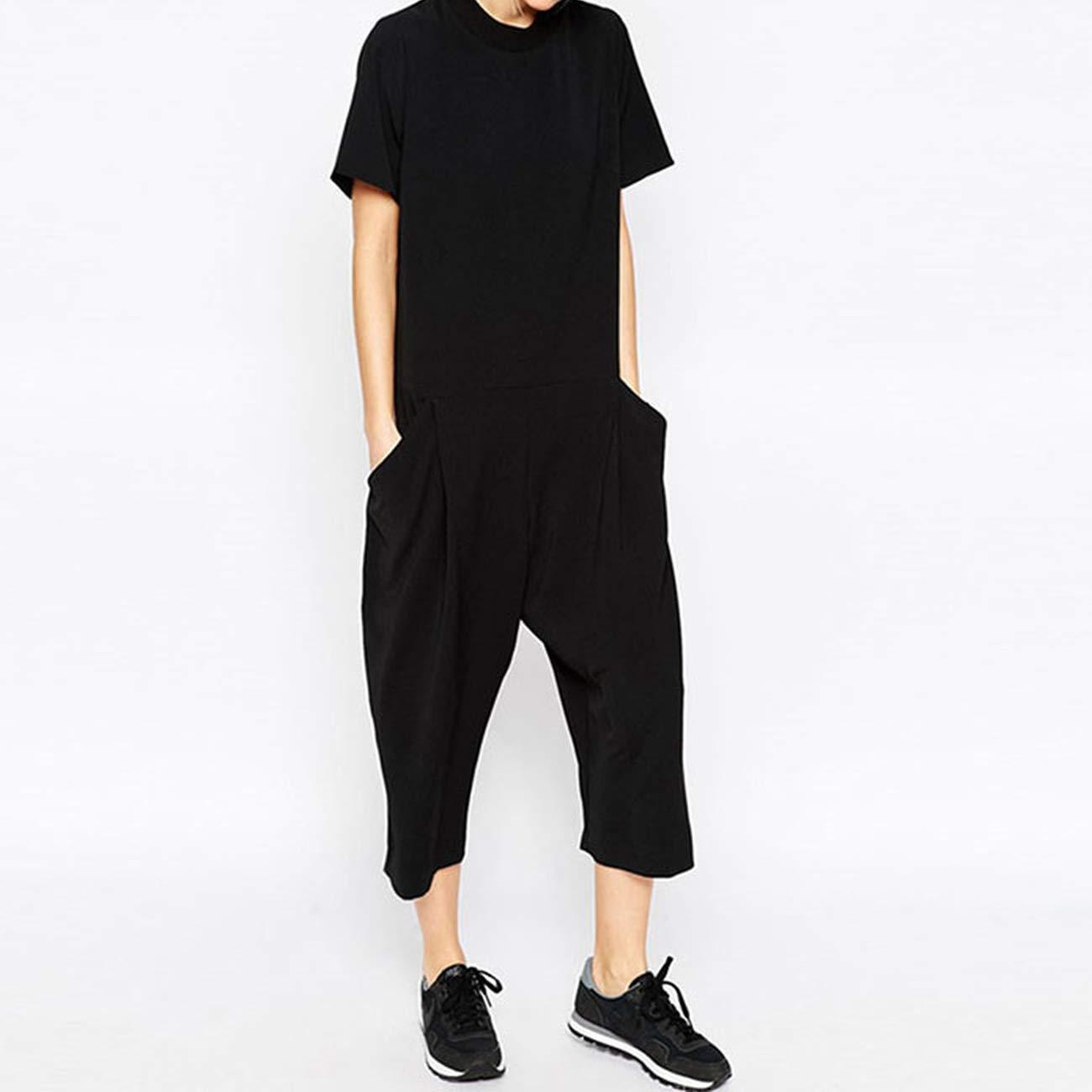 Dreamture Women Jumpsuit Elegant Side Pocket Loose Fitting Combinaison Femme Romper Overalls Jumpsuit for Women