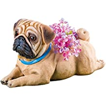 Collections Sweet Pup Pet Dog Breed Resin Animal Garden Statue Planters Decoration, Pug