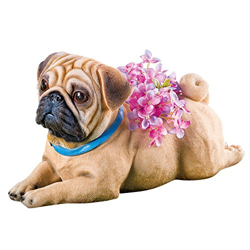 Collections Sweet Pup Pet Dog Breed Resin Animal Garden Statue Planters Decoration, (Pug Garden)