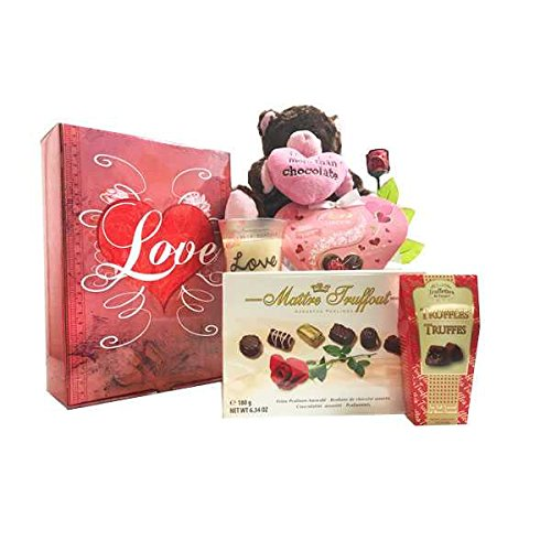 I Love You Gift Basket Chocolate Gift Collection - Features Madelaine Semi Solid Milk Chocolate Rose, Love Woodwick Crackling Candle,Plush Chocolate Kiss Bear & Maitre Truffaut Assorted (Semi Solid Milk Chocolate)
