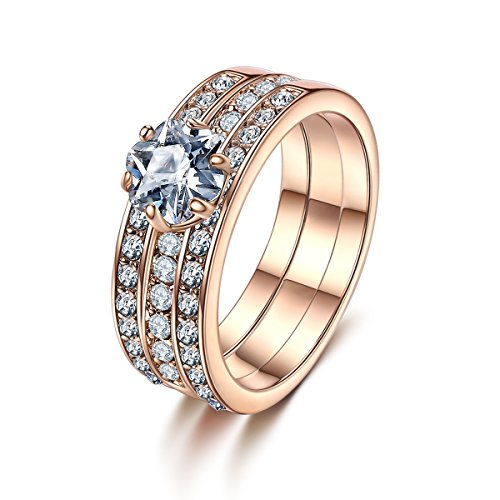 Forcolor Gold Plated Three-Row SWAROVSKI ELEMENTS Crystal Round Cut Ring
