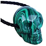 GemShark Crystal Skull Necklace Malachite Green Stone Carved Charm Pendant Black Cord Choker