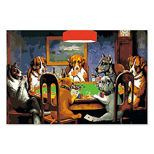 (DIY Oil Painting Paint by Number Kit with Scenery People 16x20inch (Wooden Frame, Dogs Gambling))
