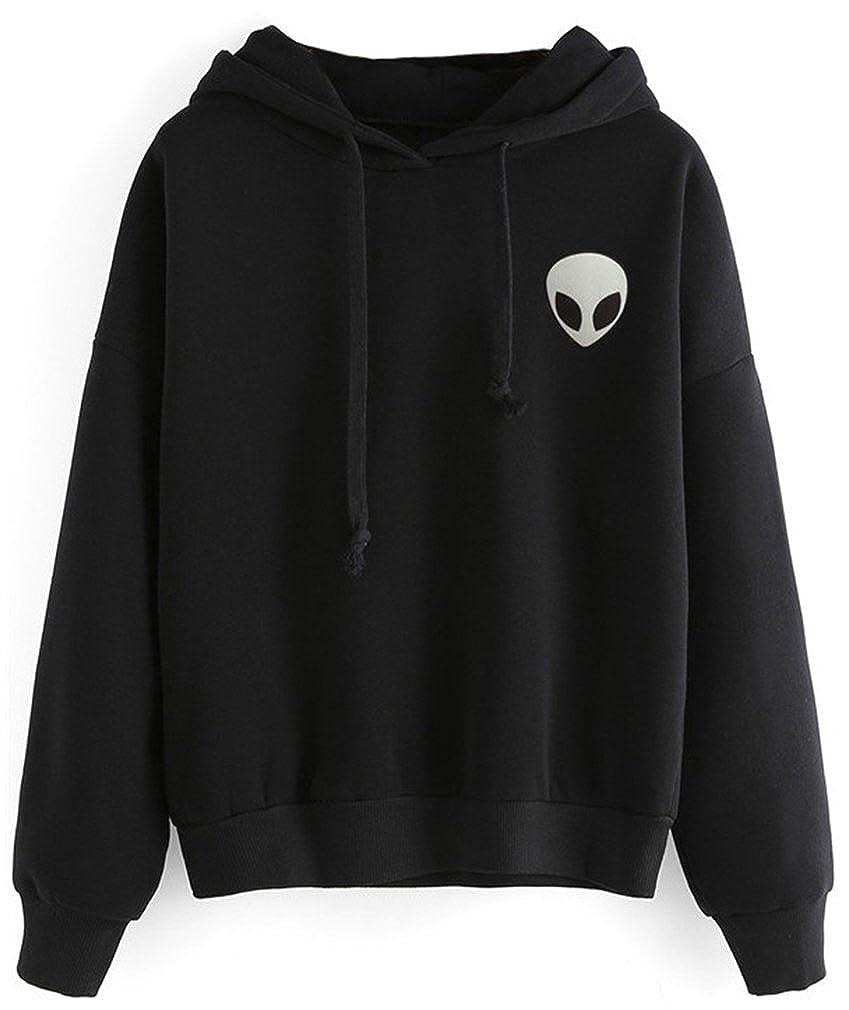 Bettydom Leisure Plain Hoodies with Alien Sport Long Sleeve Sweatshirts Jumpers for Teenage Girls S-XL