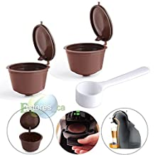 MIJORA-2Pcs Refillable Reusable Compatible Coffee Capsules Pod For Dolce Gusto Machine