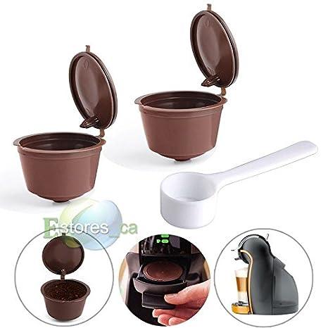 mijora-2pcs recargable reutilizable cápsulas de café compatibles Pod para máquina de café Dolce Gusto: Amazon.es: Hogar
