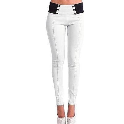 ADELINA Pantalón Largo Y Liso De Cintura Cintura Alta Ropa Y Baja Y Entallado para Mujer Pantalón De Botón Color Sólido Pantalones Casuales Y Cómodos: Ropa y accesorios