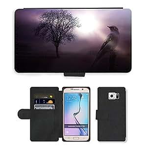CARD POCKET BOOK CASE PU LEATHER CASE // M00103849 Árbol Pájaro Planta Animal Plumaje Cielo // Samsung Galaxy S6 (Not Fits S6 EDGE)