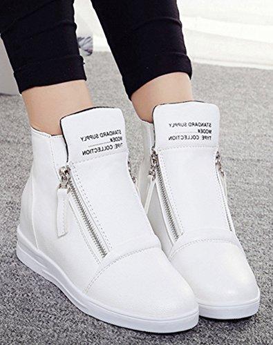 Stivaletti Alla Caviglia Piatte Stampati Con Zip Da Donna Fashion Ragazze Bianche