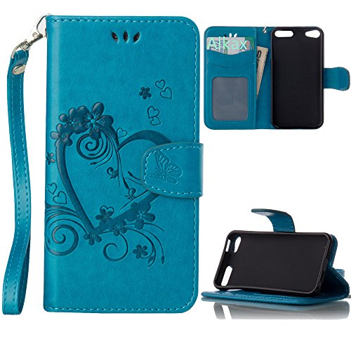 iPod Touch 5 Case , iPod Touch 6 Case, Alkax PU Leather Wallet Kickstand Magnet Flip Folio STAND Protective Cover with Card ID Card Slots Wrist Strap for Apple iPod Touch 5 6th Generation (Blue)